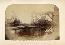 Photographic view of Mr. Stewart's Blackwall Ironworks, Millwall from
